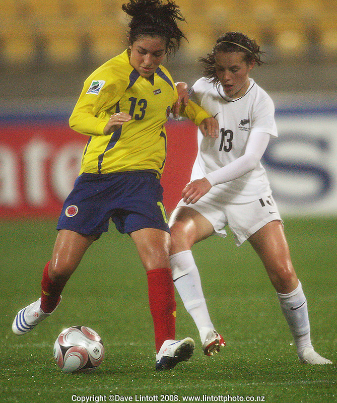 Columbia's Gaby Santos and Nadia Pearl fight for the ball during the FIFA Women's Under-17 World Cup pool match between New Zealand and Columbia at Westpac Stadium, Wellington, New Zealand on Tuesday, 4 November 2008. Photo: Dave Lintott / lintottphoto.co.nz