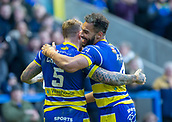 9th February 2019, Halliwell Jones Stadium, Warrington, England; Betfred Super League rugby, Warrington Wolves versus Hull KR; Josh Charnley is congratulated by Ryan Atkins after scoring for Warrington