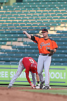 Dillon Dobson (52) of the AZL Giants in the field at first base during a game against the AZL Angels at Tempe Diablo Stadium on July 6, 2015 in Tempe, Arizona. Angels defeated the Giants, 3-1. (Larry Goren/Four Seam Images)
