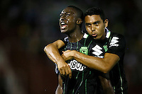 BUENOS AIRES - ARGENTINA - 24-02-2016: Marlos Moreno (izq.), jugador de Atletico Nacional de Colombia,  celebra el gol anotado a Huracan de Argentina, durante partido de la Primera Fecha del Grupo 4 por la Segunda Fase, entre Huracan y Atletico Nacional de la Copa Bridgestone Libertadores 2016 en el Estadio Tomas A Duco, de la ciudad de Buenos Aires.  / Marlos Moreno (L), player of Atletico Nacional of Colombia, celebrates a goal scored against Huracan of Argentina, during a match for the first date of the Group 4 for the second phase between Huracan and Atletico Nacional of Colombia for the Bridgestone Libertadores Cup 2016, in the Tomas A Duco, Stadium, in Buenos Aires city. Photo: Photogamma / Javier Garcia Martino / VizzorImage / Cont