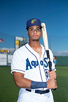 Everett AquaSox outfielder Jansiel Rivera (36) poses for a photo before a Northwest League game against the Tri-City Dust Devils at Everett Memorial Stadium on September 3, 2018 in Everett, Washington. The Everett AquaSox defeated the Tri-City Dust Devils by a score of 8-3. (Zachary Lucy/Four Seam Images)