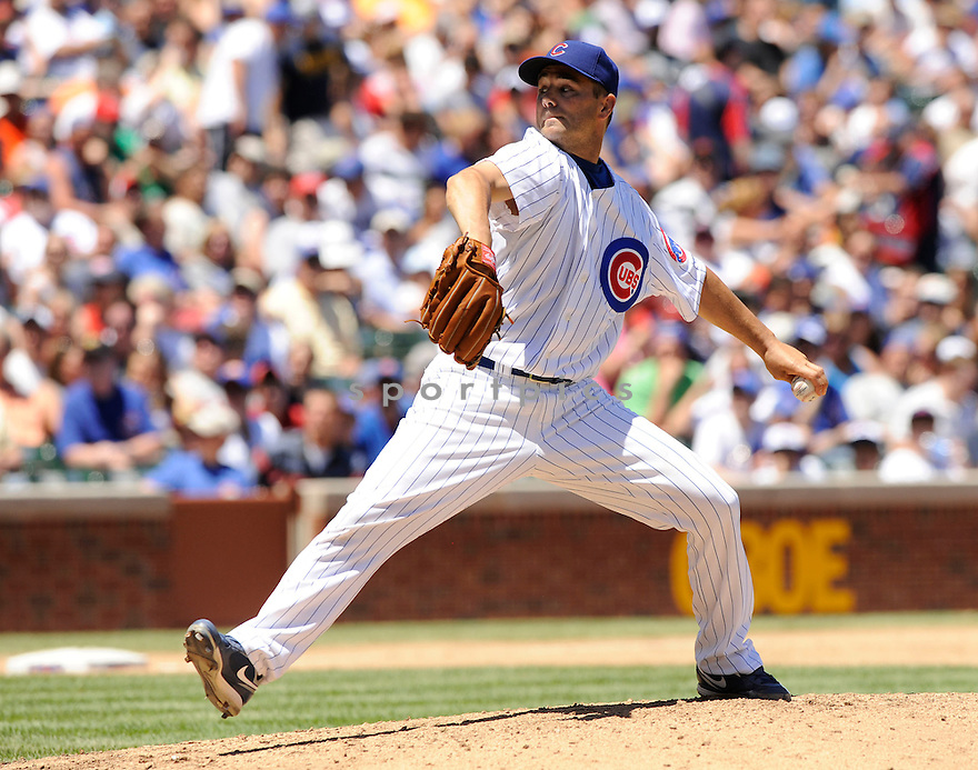 TED LILLY, of the Chicago Cubs, in action during the Cubs game against the Los Angeles Angels at Wrigley Field in Chicago, IL on June 19, 2010.  ..The Angels won the game 12-0...
