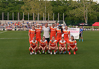 Kansas City, MO - Saturday May 07, 2016: Houston Dash starters pose for a photo  prior to playing FC Kansas City during a regular season National Women's Soccer League (NWSL) match at Swope Soccer Village. Houston won 2-1.