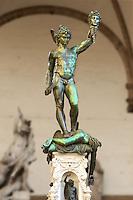 Benvenuto Cellini's Perseus with the Head of Medusa. The Loggia dei Lanzi, also called the Loggia della Signoria, Piazza della Signoria in Florence, Italy,