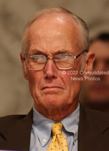 Washington, D.C. - April 13, 2004 --  National Commission on Terrorist Attacks Upon the United States (the 9-11 Commission) Commissioner Slade Gorton listens to the testimony of Thomas J. Pickard in Washington, DC on April 13, 2004.<br /> Credit: Ron Sachs / CNP<br /> [RESTRICTION: No New York Metro or other Newspapers within a 75 mile radius of New York City]