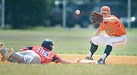Flemington's Michael McGuire (15) dives back to second base safely as Bordentown's Alex Popovich (22) awaits a throw in the first inning of an American Legion state playoff Monday July 25, 2016 in Ewing, New Jersey.  (Photo by William Thomas Cain)