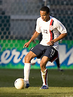 Ricardo Clark holds the ball. The USA defeated Denmark 3-1 in an International friendly at the Home Depot Center in Carson, CA on January 20, 2007.