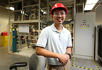 NWA Democrat-Gazette/DAVID GOTTSCHALK University of Arkansas Loc Huynh Tuesday, July 2, 2019, inside the Chemical Engineering Mass Transfer Laboratory in the Bell Engineering Center on the campus of the University of Arkansas in Fayetteville. Huynh is a transfer student.