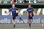 20 June 2015: Referee Baldomero Toledo (right) and Assistant Referee Mike Kampmeinert (left) warm up before the game. The Portland Timbers FC hosted the Houston Dynamo at Providence Park in Portland, Oregon in a Major League Soccer 2015 regular season match. Portland won the game 2-0.