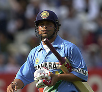 .29/06/2002.Sport - Cricket - .NatWest triangler Series England - Sri Lanka - India.England vs india 50 overs.  Lord's ground.India batting - Sachin Tendulka, closes his eye's at the replay of the  LBW decision from the bowling of Ronnie  Irani...
