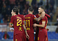 Football, Serie A: AS Roma - Brescia FC, Olympic stadium, Rome, November 24, 2019. <br /> Roma's Edin Dzeko (r) celebrates after scoring with his teammates during the Italian Serie A football match between Roma and Brescia at Olympic stadium in Rome, on November 24, 2019. <br /> UPDATE IMAGES PRESS/Isabella Bonotto
