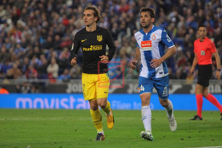 League Santander 2016/2017. Game: 33.<br /> RCD Espanyol vs Atletico de Madrid: 0-1.<br /> Griezmann vs Victor Sanchez.