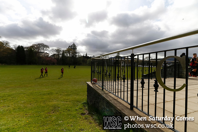 Keswick 1 Kendal 1, 15/04/2017. Fitz Park, Westmoreland League. Keswick players leaving the pitch at full time. Photo by Paul Thompson.