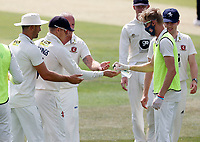 Kent players sanitise their hands during Kent CCC vs Sussex CCC, Bob Willis Trophy Cricket at The Spitfire Ground on 8th August 2020