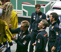02-02-14,Czech Republic, Ostrava, Cez Arena, Davis Cup Czech Republic vs Netherlands, The Dutch team signing autographs, l.t.r.:Thiemo de Bakker,Robin Haase,captain Jan Siemerink and Jean-Julien Rojer<br /> <br /> Photo: Henk Koster