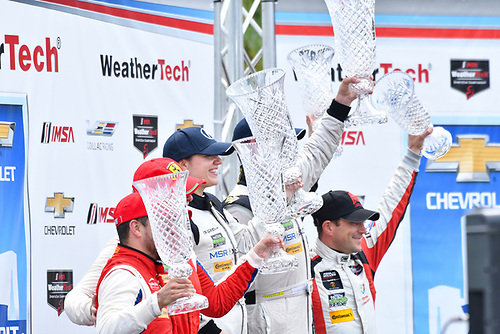 IMSA WeatherTech SportsCar Championship<br /> Chevrolet Sports Car Classic<br /> Detroit Belle Isle Grand Prix, Detroit, MI USA<br /> Saturday 3 June 2017<br /> 63, Ferrari, Ferrari 488 GT3, GTD, Alessandro Balzan, Christina Nielsen, 93, Acura, Acura NSX, GTD, Andy Lally, Katherine Legge, 48, Lamborghini, Lamborghini Huracan GT3, GTD, Bryan Sellers, Madison Snow<br /> World Copyright: Richard Dole<br /> LAT Images<br /> ref: Digital Image RD_DTW_17_0406