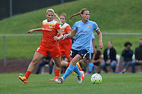 Piscataway, NJ - Saturday July 09, 2016: Christie Rampone, Melissa Henderson during a regular season National Women's Soccer League (NWSL) match between Sky Blue FC and the Houston Dash at Yurcak Field.