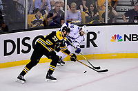 May 2, 2018: Tampa Bay Lightning right wing Nikita Kucherov (86) gets his pass by Boston Bruins defenseman Zdeno Chara (33) during game three of the second round of the National Hockey League's Eastern Conference Stanley Cup playoffs between the Tampa Bay Lightning and the Boston Bruins held at TD Garden, in Boston, Mass. Tampa Bay defeats Boston 4-1. Eric Canha/CSM