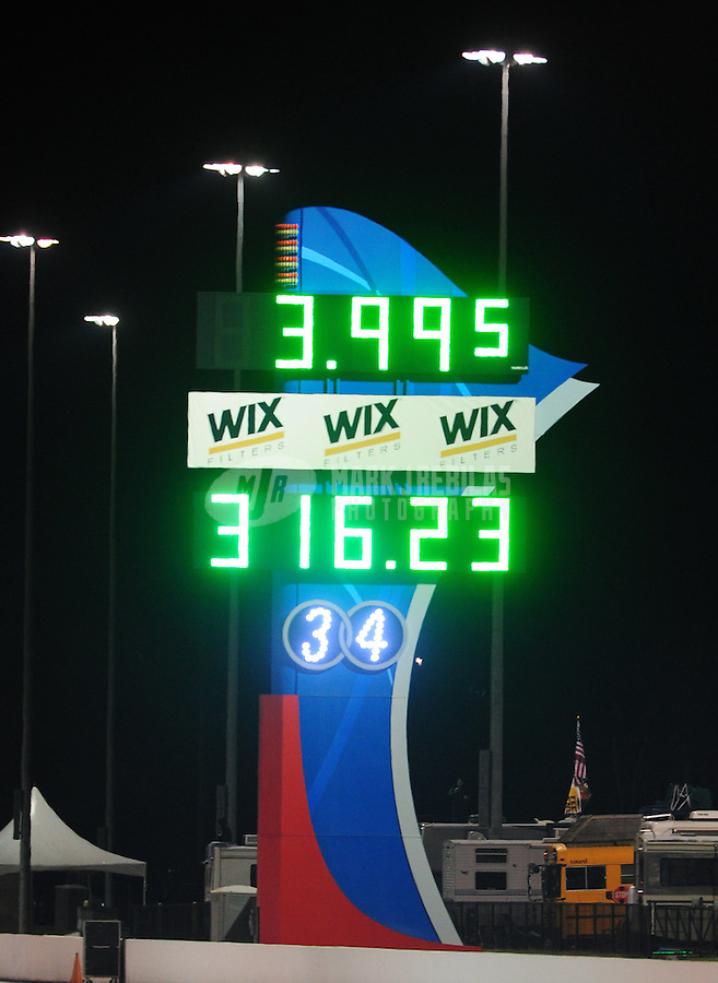 Sept. 16, 2011; Concord, NC, USA: Detailed view of the scoreboard following the run by NHRA funny car driver Matt Hagan (not pictured) during qualifying for the O'Reilly Auto Parts Nationals at zMax Dragway. Hagan became the first funny car driver to break the four second barrier with a time of 3.995. Mandatory Credit: Mark J. Rebilas-US PRESSWIRE