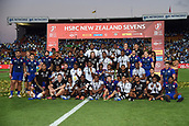 January 27th, Hamilton, New Zealand;  Team members of winners Fiji, runner up USA and second runner up New Zealand pose for a photo during the Day 2 of the HSBC World Rugby Sevens Series 2019, FMG Stadium Waikato,Hamilton, Sunday 27th January 2019.
