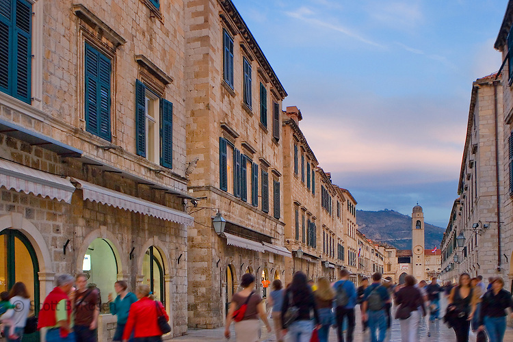 Tourists walk down the Placa in the medieval walled city of Dubrovnik, in the south of Croatia.