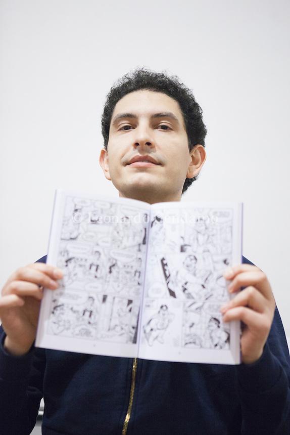 Luca Usai, disegnatore e fumettista. Milano, 23 gennaio 2014. © Leonardo Cendamo