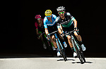 Part of the breakaway group Rafal Majka (POL) Bora-Hansgrohe, Alejandro Valverde (ESP) Movistar Team and Pierre Rolland (FRA) EF-Drapac-Cannondale in action during Stage 12 of the 2018 Tour de France running 175.5km from Bourg-Saint-Maurice les Arcs to Alpe D'Huez, France. 19th July 2018. <br /> Picture: ASO/Alex Broadway | Cyclefile<br /> All photos usage must carry mandatory copyright credit (&copy; Cyclefile | ASO/Alex Broadway)