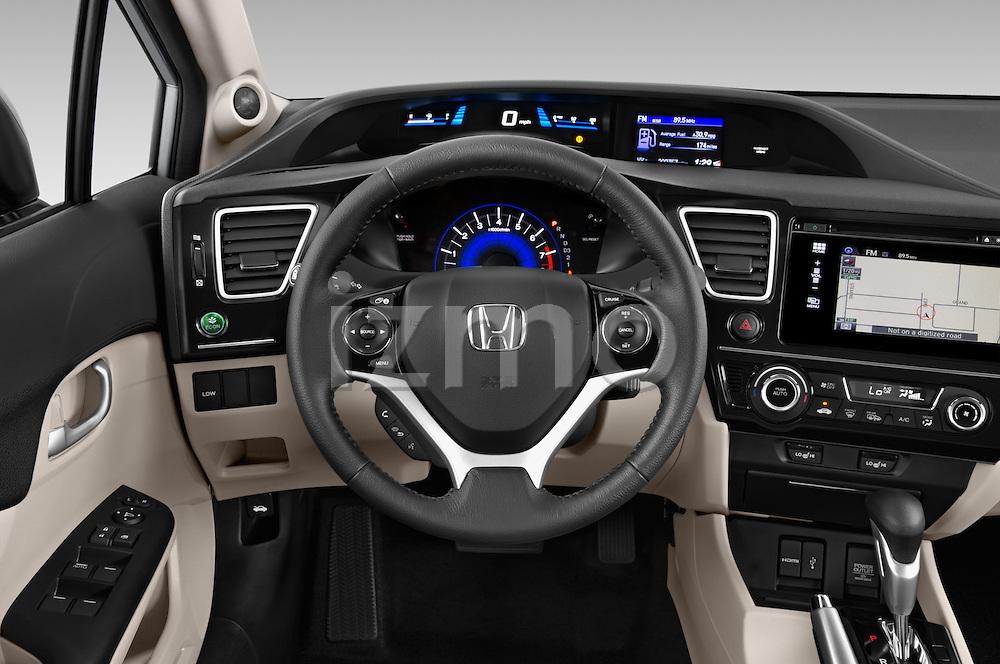 Car pictures of steering wheel view of a 2015 Honda Civic CNG 4 Door Sedan