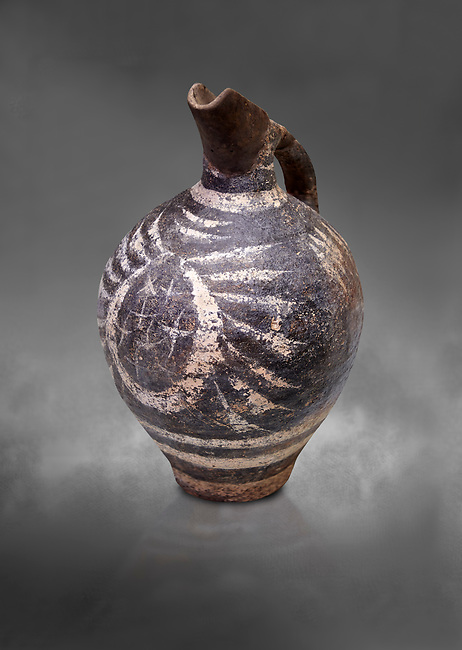 Luxury Minoan Kamares Ware ewer jug with polychrome decorations , Phaistos 1900-1700 BC; Heraklion Archaeological  Museum, grey background.<br /> <br /> This style of pottery is named afetr Kamares cave where this style of pottery was first found