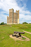 Well preserved walls and towers of 12th century castle, Orford, Suffolk, England, UK