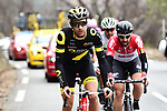 The breakaway led by Fabien Grellier (FRA) Direct Energie and Thomas De Gendt (BEL) Lotto-Soudal during Stage 6 running 198km from Sisteron to Vence, France. 9th March 2018.<br /> Picture: ASO/Alex Broadway | Cyclefile<br /> <br /> <br /> All photos usage must carry mandatory copyright credit (&copy; Cyclefile | ASO/Alex Broadway)