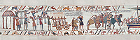 Bayeux Tapestry scene 37:  weapons, wine and horses are loaded on Duke Williams's invasion fleet. BYX37