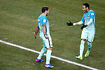 FC Barcelona's Luis Suarez (l) and Neymar Santos Jr celebrate goal during Spanish Kings Cup semifinal 1st leg match. February 01,2017. (ALTERPHOTOS/Acero)