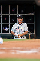 Colorado Springs Sky Sox manager Rick Sweet (16) in the dugout during a game against the Oklahoma City Dodgers on June 2, 2017 at Chickasaw Bricktown Ballpark in Oklahoma City, Oklahoma.  Colorado Springs defeated Oklahoma City 1-0 in ten innings.  (Mike Janes/Four Seam Images)