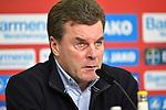 10.03.2018, BayArena, Leverkusen , GER, 1.FBL., Bayer 04 Leverkusen vs. Borussia Moenchengladbach<br /> im Bild / picture shows: <br /> Pressekonferenz (PK) nach dem Spiel,  Dieter Hecking Trainer/Headcoach (Gladbach), <br /> <br /> <br /> Foto &copy; nordphoto / Meuter