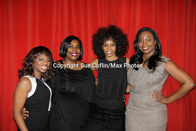 Delaina Dixon - Carmencita Whonder - Stacie Henderson - Marielle Bobo - George Brusha on a panel at Color of Beauty which recognizes stylish people of color with a one-day event featuring topical panel discussions followed later tonght with a red carpet awards ceremony. The event was on February 4, 2014 at New York University, New York City, NY. (Photo by Sue Coflin/Max Photos)