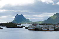 Whaling boats at harbor in village of Steine, Lofoten islands, Norway