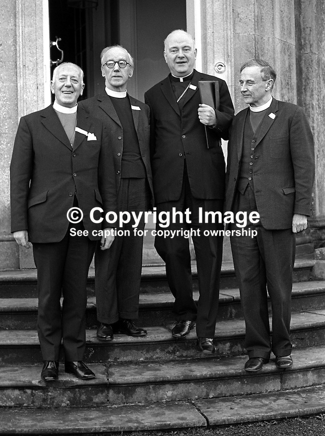 N Ireland church leaders who took part in the Feakle Peace Talk with the Provisional IRA in the Co Clare Village on 12th December 1974 arriving for the press conference a the Archbishop's Place, Armagh, (from left) are: Rt Rev George Temple Lundie, Presbyterian Moderator,  Rev Harold Sloane, president, Methodist Church, Cardinal Conway, Roman Catholic Church, Archbishop George Otto Simms, Church of Ireland. 197501030011b.<br />