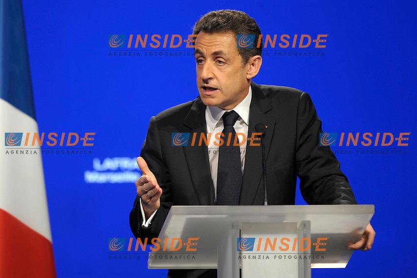 Nicolas Sarkozy Presidente della Repubblica Francese e candidato alle elezioni Presidenziali 2012.Marsiglia 19/2/2012.Campagna elettorale Presidenziali 2012.Foto Insidefoto / Franck Pennant / Panoramic.ITALY ONLY