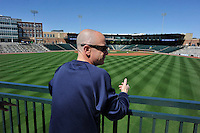 Team President John Katz shows off the new stadium to members of the Columbia Fireflies on Sunday, April 3, 2016, their first day at the new Spirit Communications Park in Columbia, South Carolina. The Class A South Atlantic League Mets affiliate moved here this year from Savannah. (Tom Priddy/Four Seam Images)