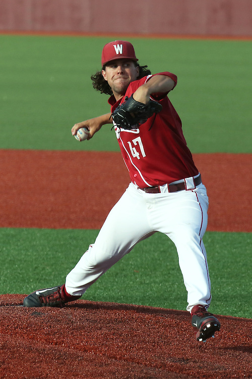 Kellen Camus fires to the plate during the Pac-12 Conference tilt between the Washington State Cougars and the Arizona State Sun Devils at Bailey-Brayton Field in Pullman, Washington, on May 24, 2014.  The Cougars defeated the 21st ranked Sun Devils, 10-7.