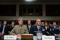 United States Secretary of the Air Force Dr. Heather Wilson, left, and Air Force General John Hyten, who is nominated to become Vice Chairman Of The Joint Chiefs Of Staff, testify before the U.S. Senate Committee on Armed Services during his confirmation hearing on Capitol Hill in Washington D.C., U.S. on July 30, 2019. Credit: Stefani Reynolds/CNP/AdMedia