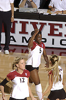 24 September 2005: Njideka Nnamani during Stanford's 30-22, 31-29, 30-26 win against UCLA Bruins at Maples Pavilion in Stanford, CA.