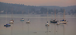 Vashon Island, WA            <br /> Layers of fog lifting above the boats in Quartermaster Harbor at dawn