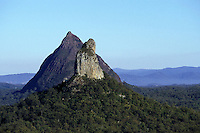 Australia, Queensland, Glasshouse Mtns., Mt. Coonowrin in foreground, Mt. Beerwah in back