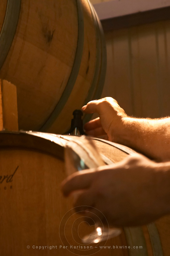 Henri Giraud taking a barrel sample of wine with a pipette and pouring it into a tasting glass. With a ray of sunlight coming through the roof. Champagne house Maison Giraud-Hemart, also called Champagne Henri Giraud, Ay, Vallée de la Marne, Champagne, Marne, Ardennes, France, low light grainy grain