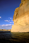 AZ, Arizona Lake Powell, near Grand Canyon National Park, scenic, Lone Rock on Utah border .Photo Copyright: Lee Foster, lee@fostertravel.com, www.fostertravel.com, (510) 549-2202.Image: azlkpo207