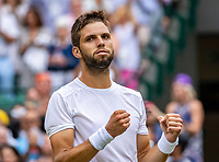 London, England, 1  st July, 2019, Tennis,  Wimbledon, Jiri Vessely (CZE) celebrates his win over Alexander Zverev (GER) <br /> Photo: Henk Koster/tennisimages.com