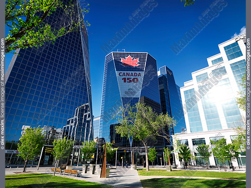 Regina downtown city scenery of Victoria Park and McCallum Hill Centre Towers. Celebrating Canada's 150th anniversary. Regina, Saskatchewan, Canada 2017.