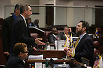 Nevada Senate Republicans Scott Hammond, left, and Michael Roberson talk on the Senate floor during a special Legislative session in Carson City, Nev., on Tuesday, June 4, 2013. <br /> Photo by Cathleen Allison